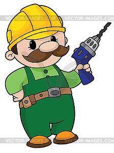 Baumeister mit Bohrer - Stock Vektor-Bild