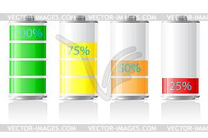 Symbole der Akku aufgeladen - Vector-Clipart / Vektor-Bild