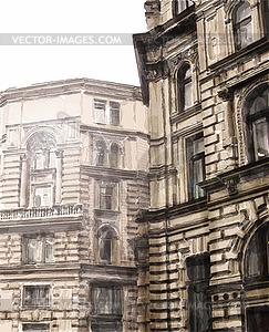 Aquarell Stadtbild - Vektorgrafik-Design