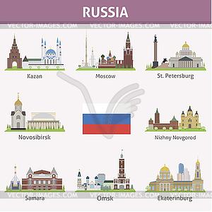 Russland. Symbole der Städte - Vector-Clipart EPS