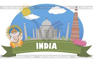 Indien. Tourismus und Reisen - Vektor-Clipart / Vektorgrafik