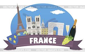 Frankreich. Tourismus und Reisen - Vector-Abbildung