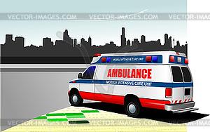 Moderne Rettungswagen auf Stadt Hintergrund. Farbige - farbige Vektorgrafik