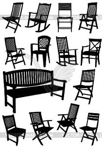 Sammlung von Garten Stühle und Bänke Silhouetten - Vector-Clipart EPS