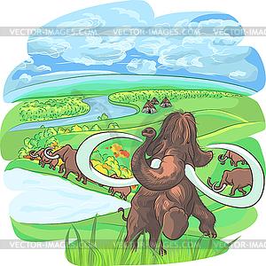 Mammuts in Landschaft mit Fluss - Stock-Clipart