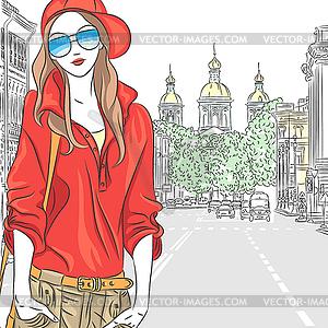 Schöne Mode Mädchen Topmodel auf der Straße in St. - Stock-Clipart