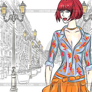 Attraktive Mode Mädchen geht für St. Petersburg - Vektor-Bild