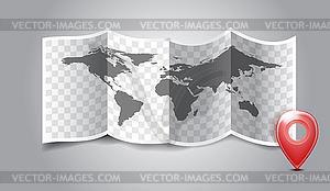 Gefaltete Welt-Karte mit GPS-Markierungen - vektorisierte Grafik