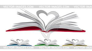 Herz aus Buchseiten - Vektorgrafik-Design