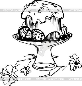 Osterkuchen mit Eiern und Blumen in der Vase - Vektor Clip Art