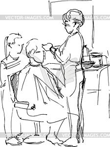 Junger Mann im Friseurladen auf Master- - Vektor-Clipart / Vektor-Bild