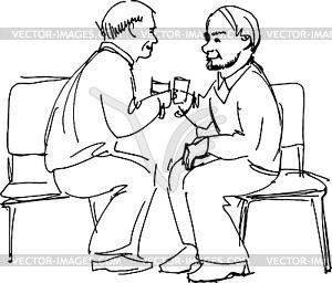 Beiden Großväter trinken sitzen auf Stühlen - Clipart-Design