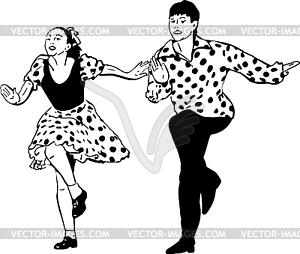 Kerl mit Mädchen tanzen Rock and Roll - Vektor-Design