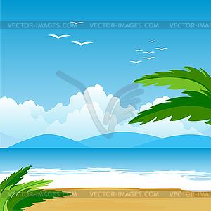 Palmen auf einer Küste - farbige Vektorgrafik