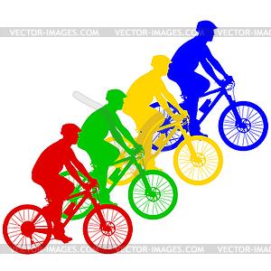 Silhouette der Radfahrer männlich. - farbige Vektorgrafik