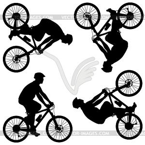 Silhouette der Radfahrer männlich. - vektorisiertes Bild