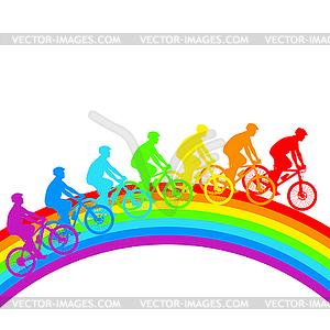 Silhouette der Radfahrer Regenbogen männlich. - Vektorgrafik