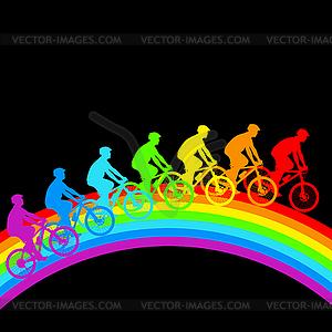 Silhouette der Radfahrer Regenbogen männlich. - Vector-Clipart EPS