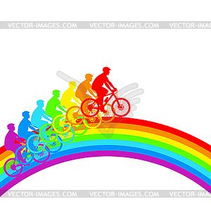 Silhouette der Radfahrer Regenbogen männlich. - Vector-Bild