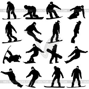 Schwarze Silhouetten Snowboarder. ich - Vektor-Clipart EPS