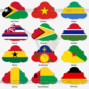 Set Flaggen der Welt souveräner Staaten in Form - vektorisierte Abbildung