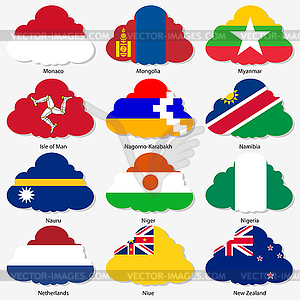 Set Flaggen der Welt souveräner Staaten in Form - Stock Vektor-Bild