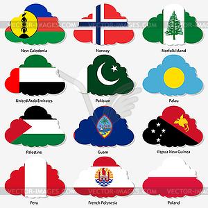 Set Flaggen der Welt souveräner Staaten in Form - Stock-Clipart