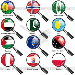 Set Flaggen der Welt souveräner Staaten Vergrößerungs - Vektor-Clipart / Vektor-Bild