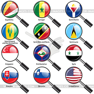 Set Flaggen der Welt souveräner Staaten Vergrößerungs - vektorisiertes Clip-Art