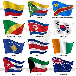 Stellen Flaggen der Welt souveräner Staaten. - Vektor-Clipart