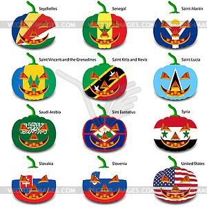 Set Kürbisse für Halloween als Flaggen der Welt. illus - vektorisiertes Clip-Art