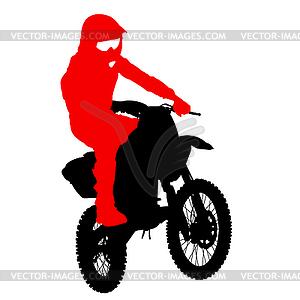 Schwarze Silhouetten Motocross-Fahrer auf dem Motorrad. - Vektor-Clipart / Vektor-Bild