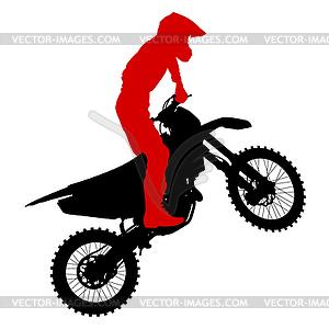 Schwarze Silhouetten Motocross-Fahrer auf dem Motorrad. - Vektorgrafik-Design
