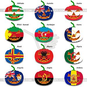 Set Kürbisse für Halloween als Flaggen der Welt. illus - Royalty-Free Vektor-Clipart