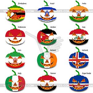 Set Kürbisse für Halloween als Flaggen der Welt. illus - Clipart-Bild
