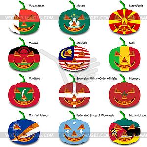 Set Kürbisse für Halloween als Flaggen der Welt. illus - Vektorgrafik