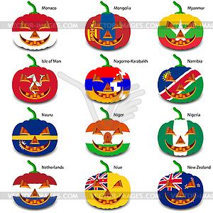 Set Kürbisse für Halloween als Flaggen der Welt. illus - Vector-Clipart EPS