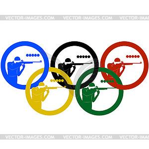 Biathleten Sportler und Olympiaringe - vektorisiertes Clipart