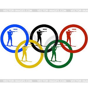 Biathlon und olympischen Ringe- - vektorisierte Grafik