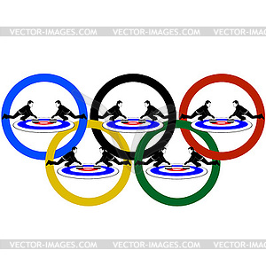 Curling and Olympic rings - vector clip art