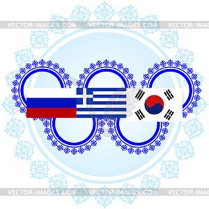 Flaggen der Olympischen Winterspiele - farbige Vektorgrafik