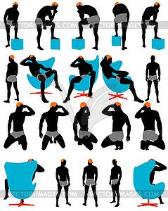 Set von Männern Silhouette - Vector-Bild