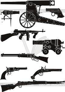 Silhouetten der klassischen Feuerwaffen - Klipart