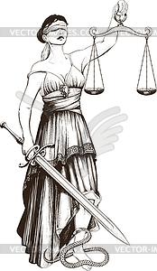 Symbol der Gerechtigkeit Femida - Vektorgrafik-Design