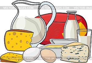 Stilleben mit Milchprodukten - Royalty-Free Clipart