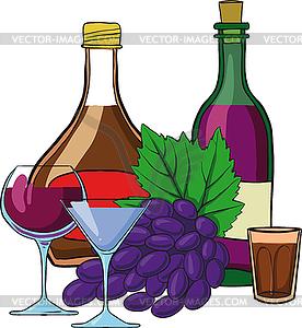 Stillleben mit Flaschen Wein - Stock-Clipart
