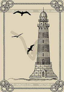 Alter Leuchtturm in Rahmen - Vektorgrafik-Design