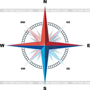 Windrose-Kompass - farbige Vektorgrafik
