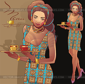 Kaffee Kellnerin - vektorisiertes Clipart