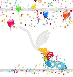 Karneval Hintergrund mit Maske, Konfetti, Luftballons - Clipart